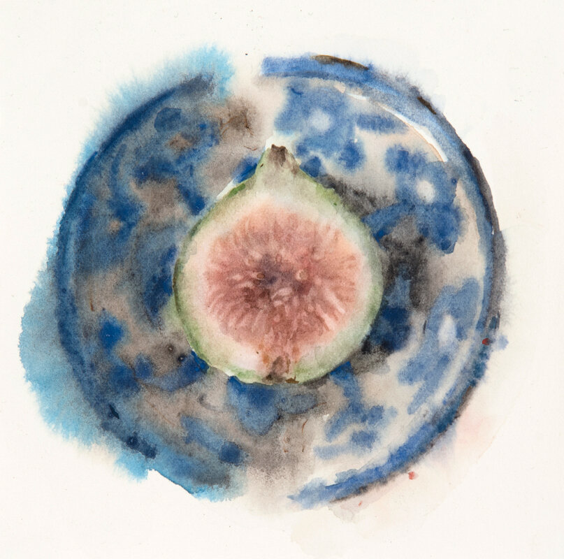 Artist: Wendy Artin  Title: Half Fig in Tiny Turquoise Bowl  Date: 2019  Size: 5x5  Method: Watercolor  Price:  Inquire
