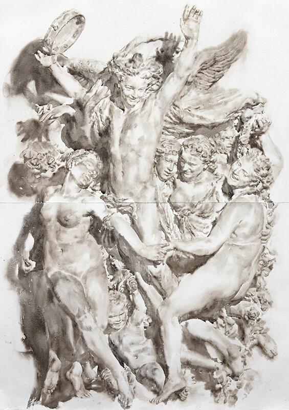 Artist: Wendy Artin  Title: La Danse Carpeaux BIG  Date: 2019  Size: 40x54  Method: Watercolor  Price:  Inquire