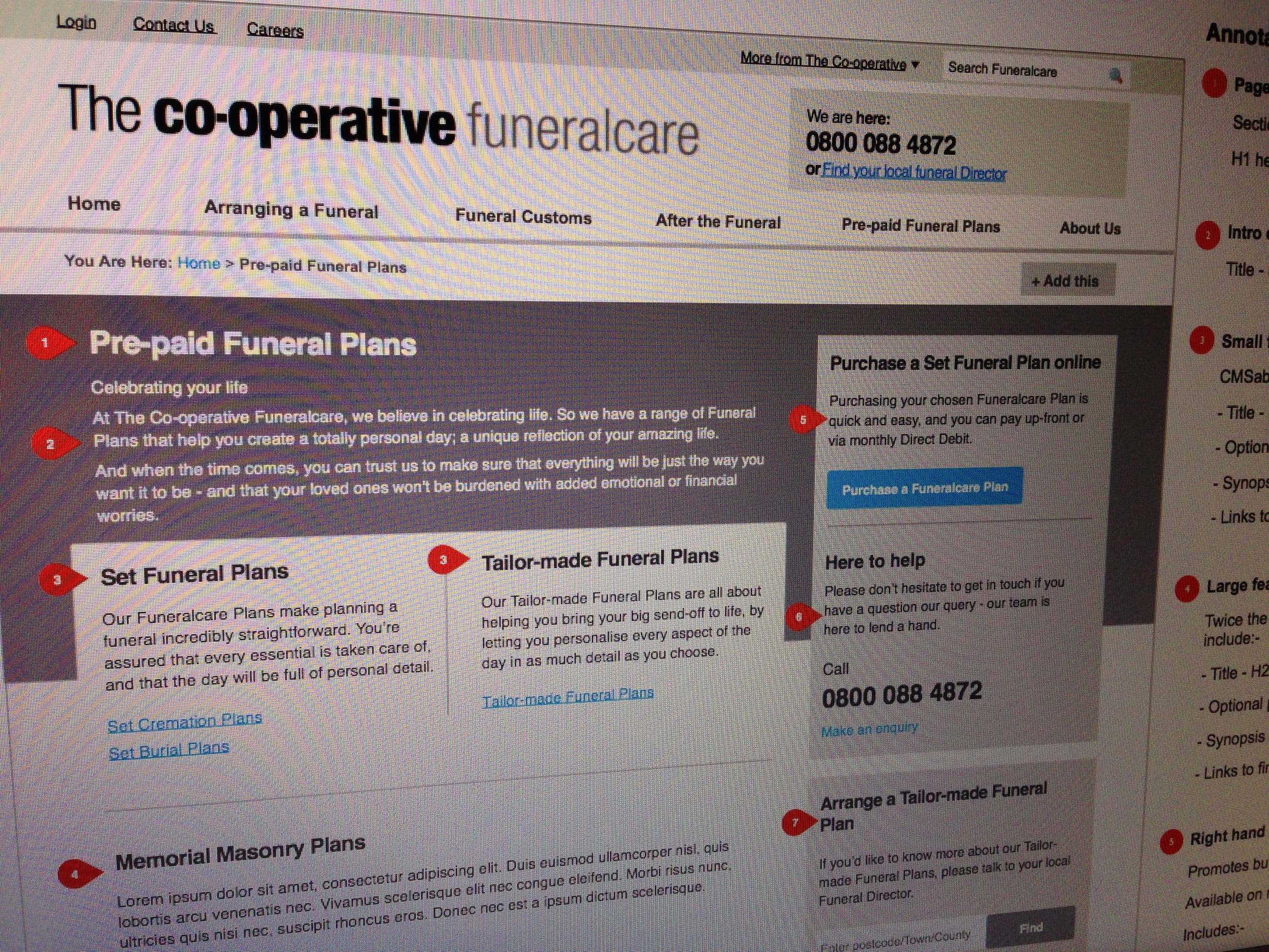 Funeral Plans Information - Wireframe