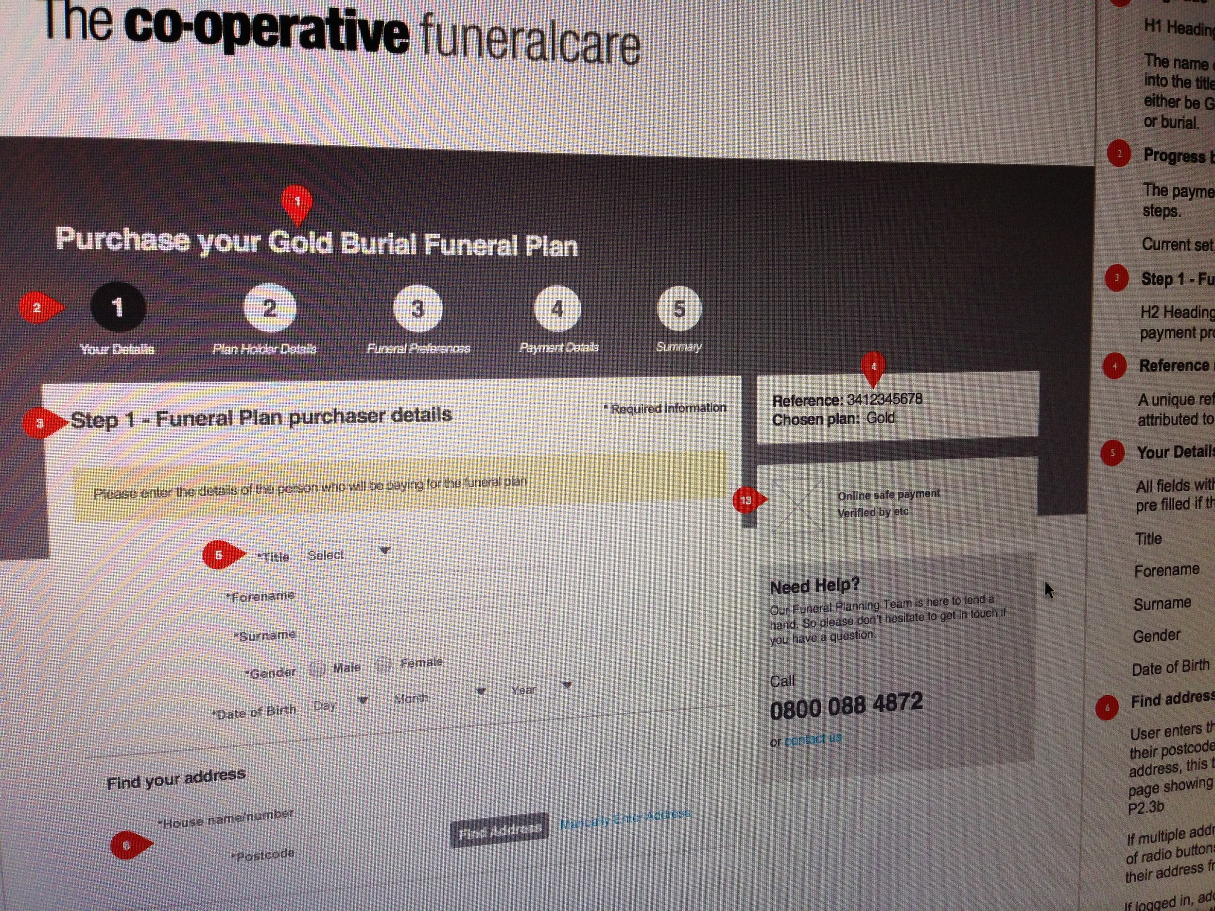 Funeral Plans Application Form - Wireframe