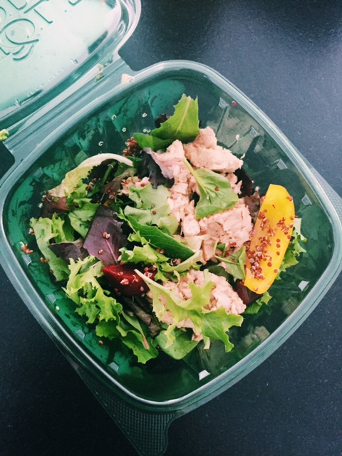 A typical lunch of greens, beets, peppers, quinoa and tuna. Small amounts of olive oil, vinegar and lemon.