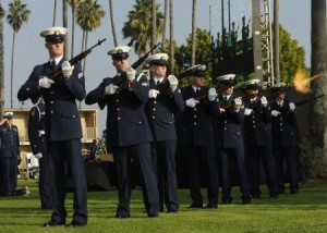 The Coast Guard Honor Guard retires the colors at the memorial of Senior Chief Petty Officer Terrell Horne III. U.S. Coast Guard photo by Petty Officer 2nd Class Prentice Danner.