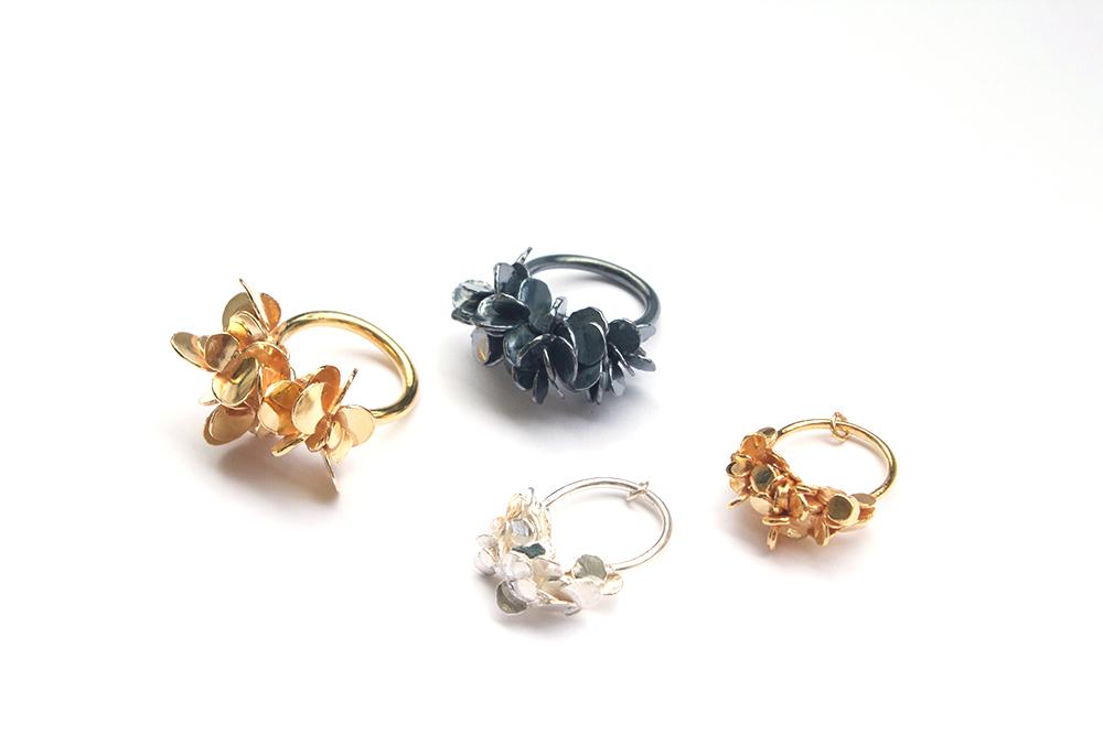 'Drop by drop' rings