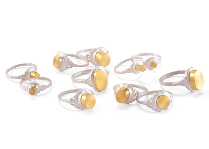 COLONNE  Series of Rings | Gold 900, silver