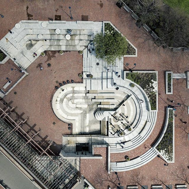 "Baby Pool . Part of an ongoing series I'm calling ""Parkour from Above"" that documents our spots from a perspective we never see. More to come (if you're into that sort of thing). . . . . . . . #parkourfromabove #parkour #parkourlife #drone #dji #mavic #mavicpro #djimavicpro #aerialaesthetic #aerialphotography #boston #architectureporn #architecture #dronephotography #architecturephotography"