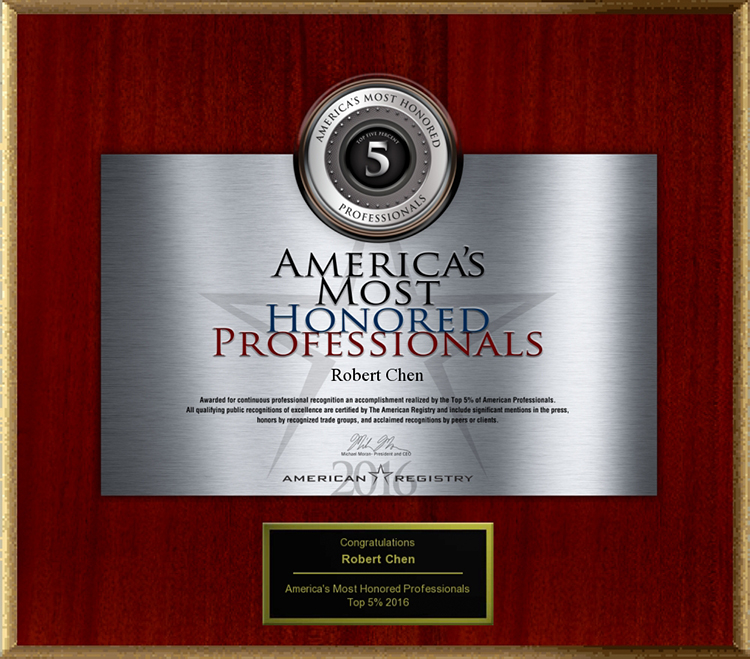 2016 America's Most Honored Professionals to Dermatologist Robert Chen MD PhD.jpg