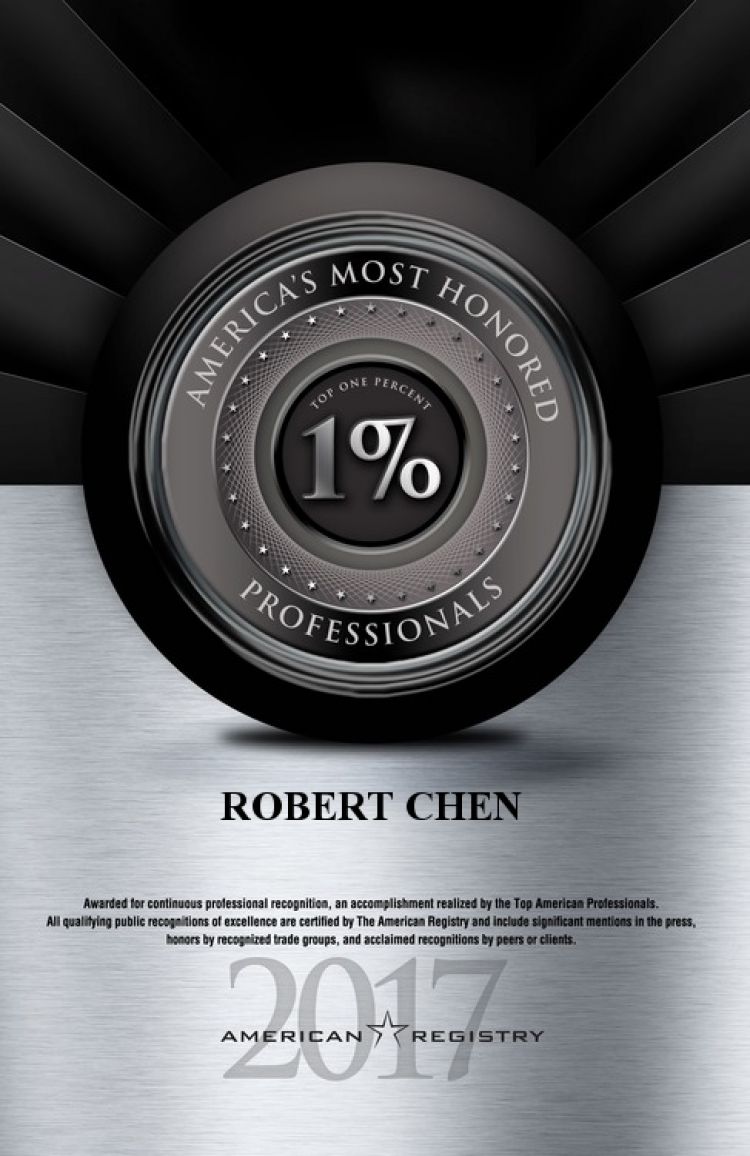 2017 America's Most Honored Professionals to Dermatologist Robert Chen MD PhD.jpg