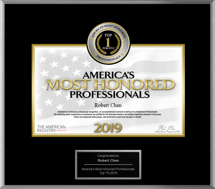 2019 Top 1 Percent America's Most Honored Professionals awarded to Robert Chen MD PhD - Acacia Dermatology Lawrenceburg and Skin Envy MD Nashville.jpg