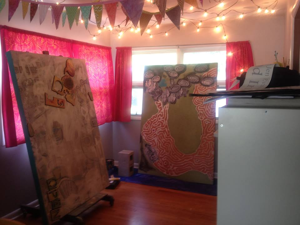 Steve's work in my studio- ready to get started