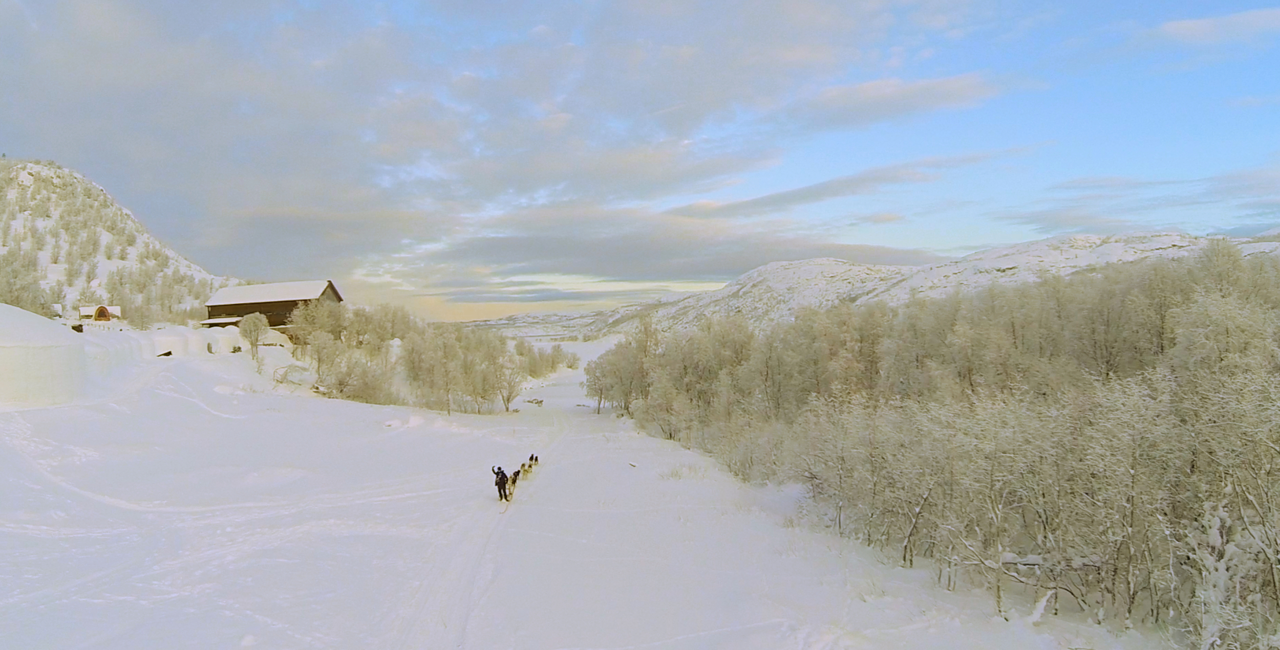Dogsledding is one of may excursions available at the Krikenes Snowhotel.