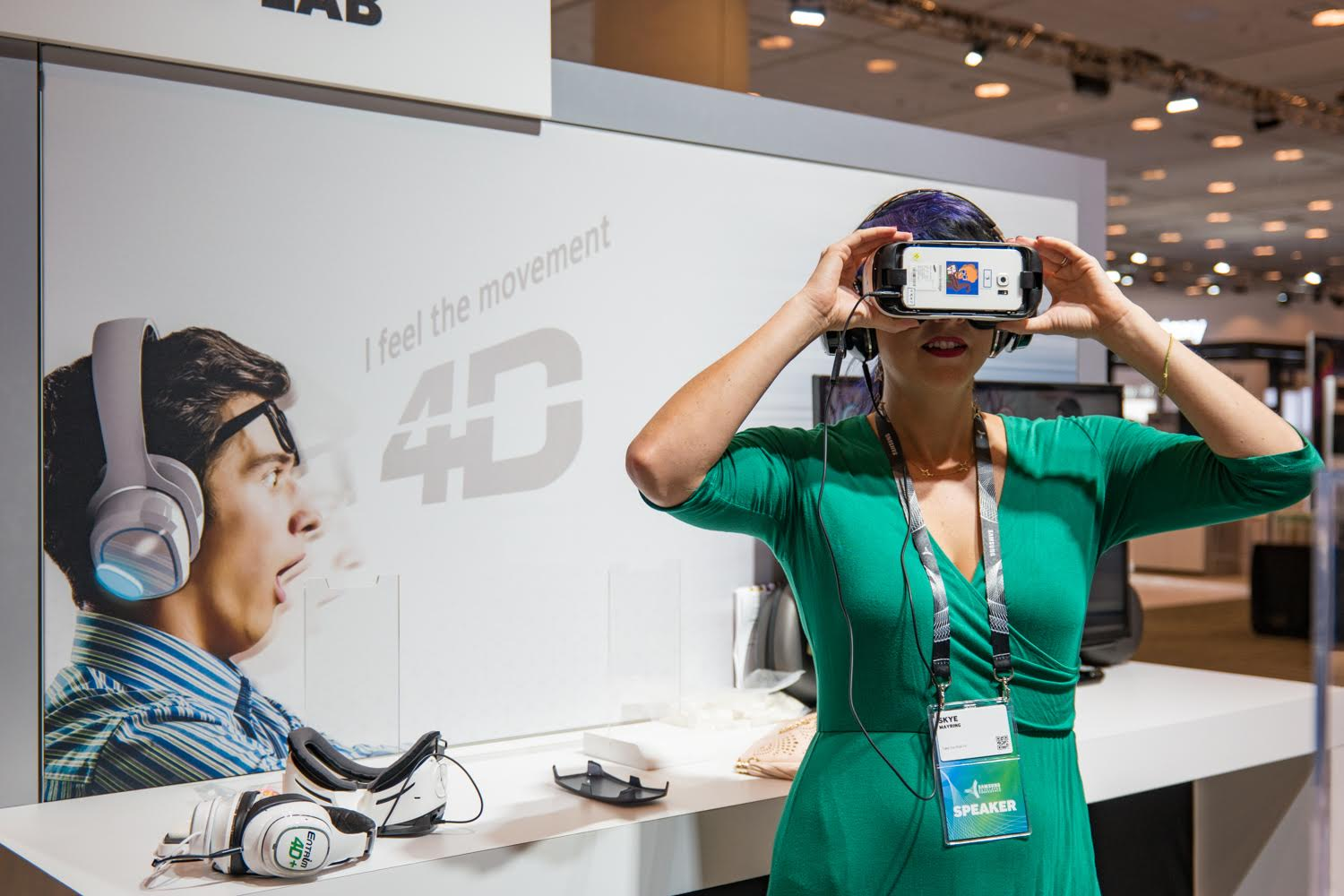 Joan Jetsetter experimenting with movement in VR at the Samsung Developer Conference in San Francisco, Calif. Image by  Wasim Muklashy .
