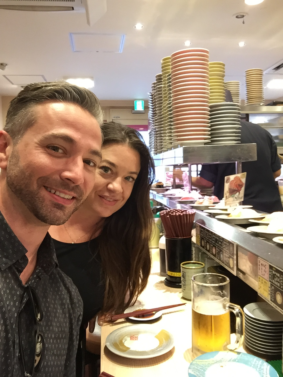 Mysteri and Nathan loved the conveyer-belt sushi restaurants all over Kyoto.
