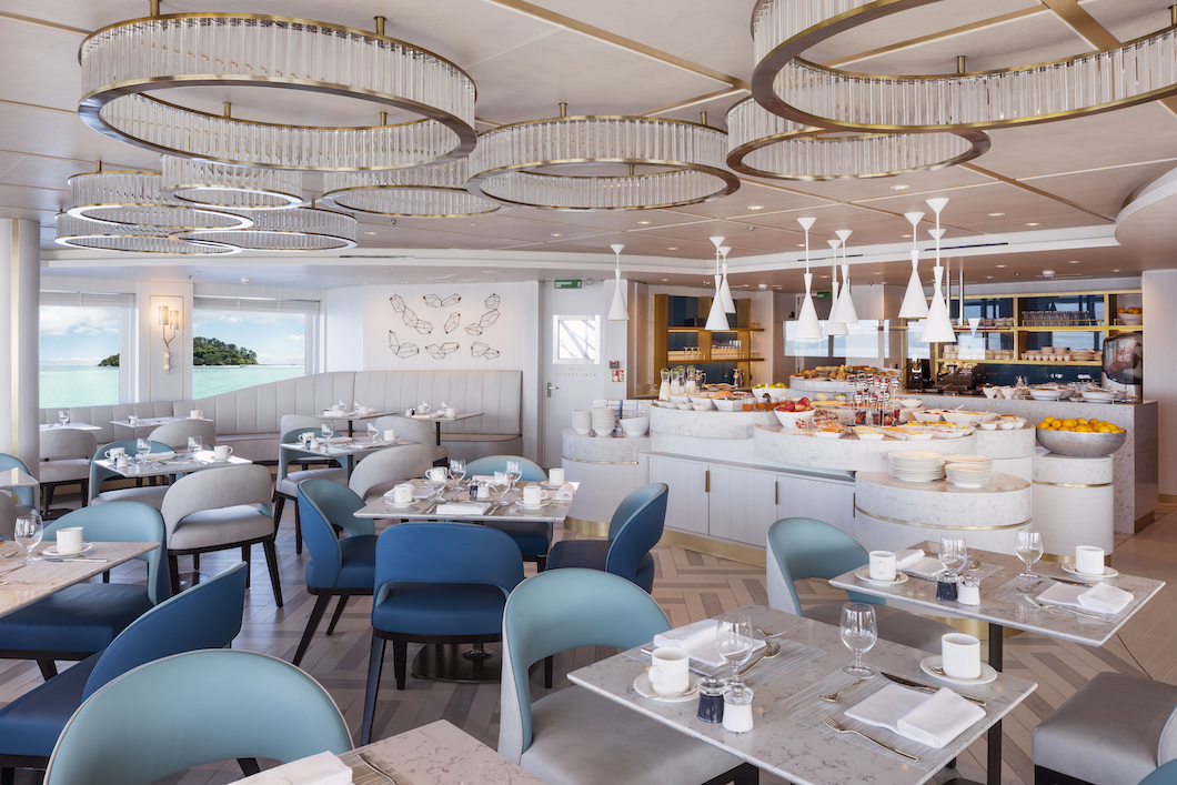 The Patio Cafe onboard Crystal Esprit while docked in the Seychelles. Image courtesy of  Crystal Cruises .