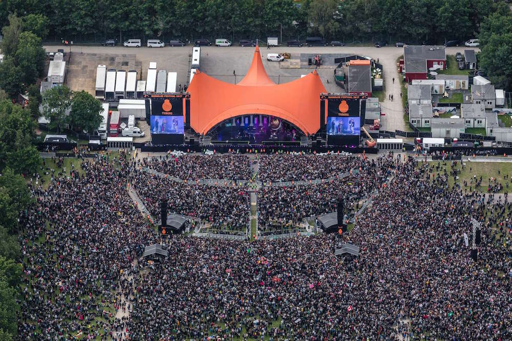 An aerial shot of Roskilde's famous Orange Stage. Image courtesy of Roskilde Festival and Phlake.