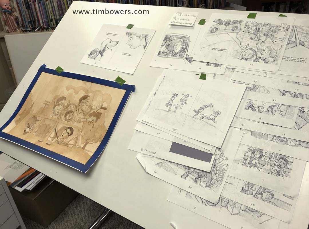 Ready to begin the final artwork. Sketches are taped to the drawing board. A lot of work, ahead.