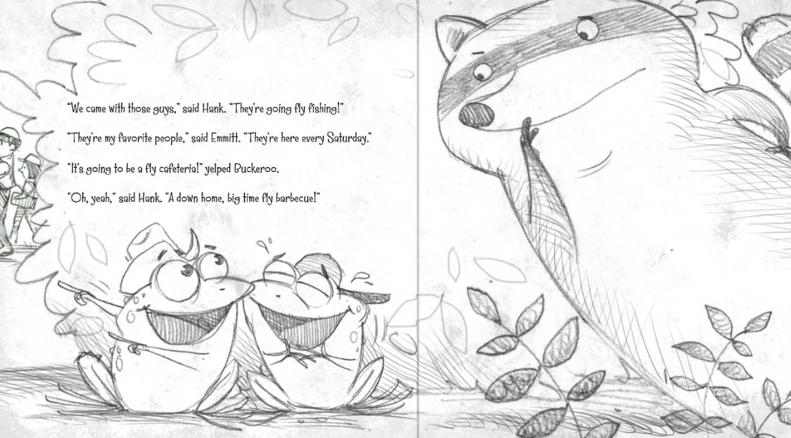 A peek at one of the interior page sketches from the book dummy.
