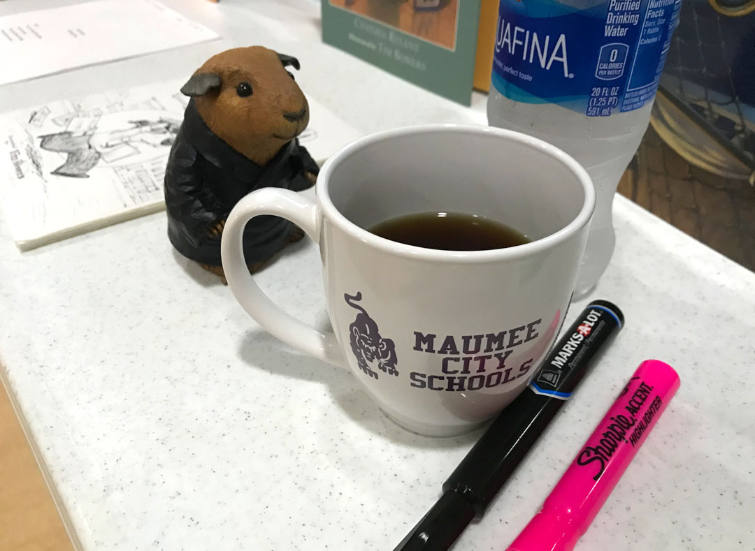 Ready to start the day. Markers… check . Books, art and props… check . COFFEE… always!