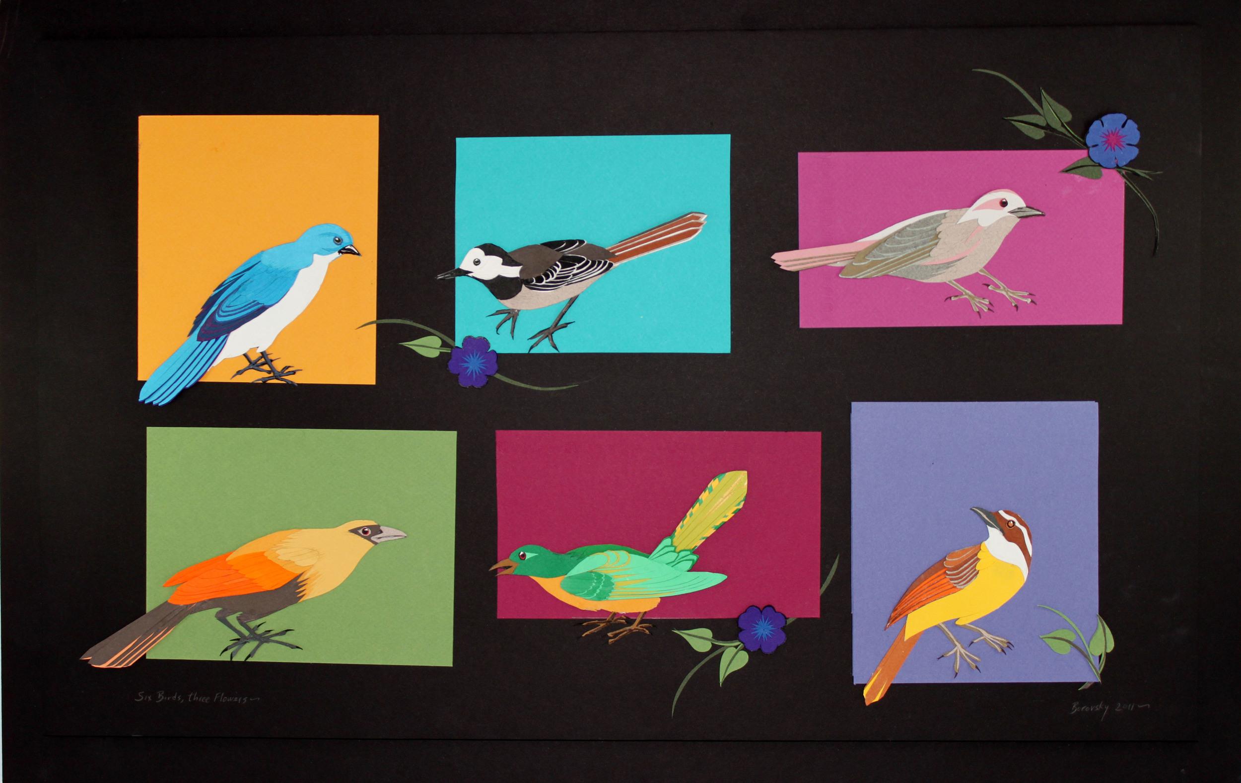 Six Birds with Three Flowers   28 x 18   $500