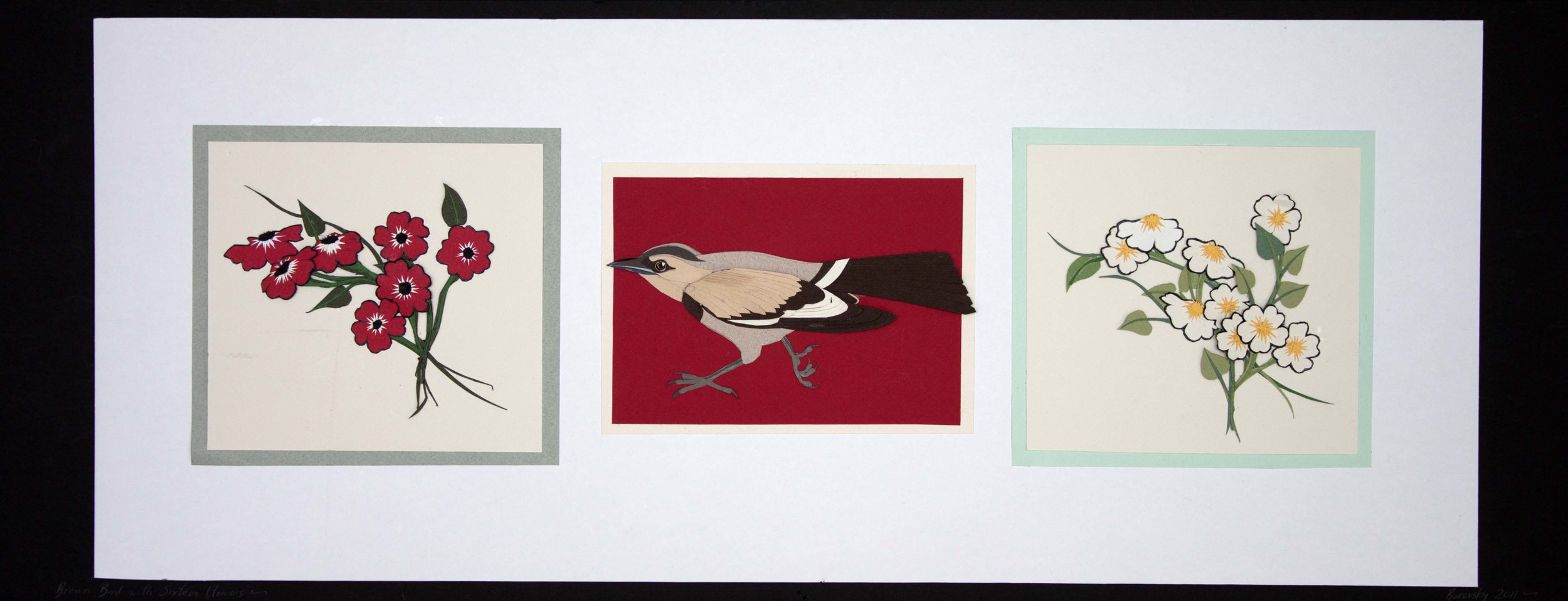 "Brown Bird with Fifteen Flowers  18 x 10""  $500"