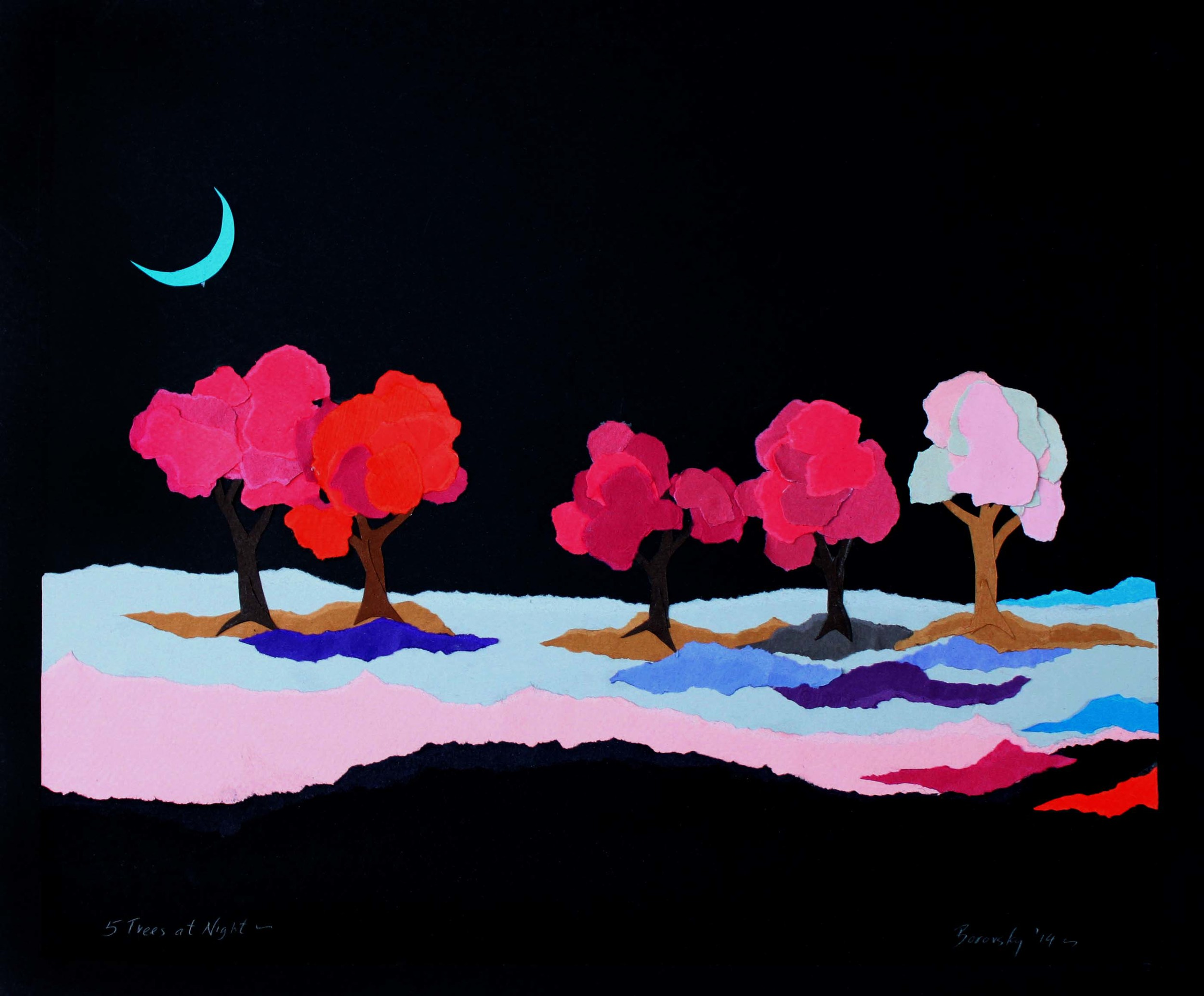 "Five Trees at Night   13 x 15""      SOLD"