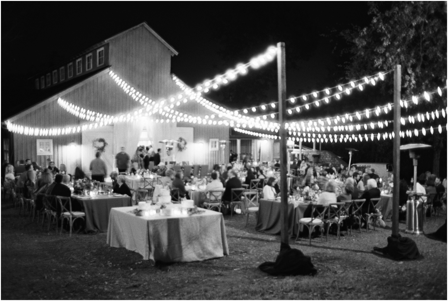 Outdoor reception under twinkle lights