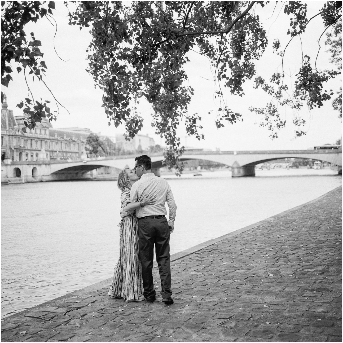 Embrace classic elegance with this iconic shot along the Seine. There are tons of gorgeous spots, but some of my favorite places to find these walks are near Notre Dam or by the Musee d'Orsay.