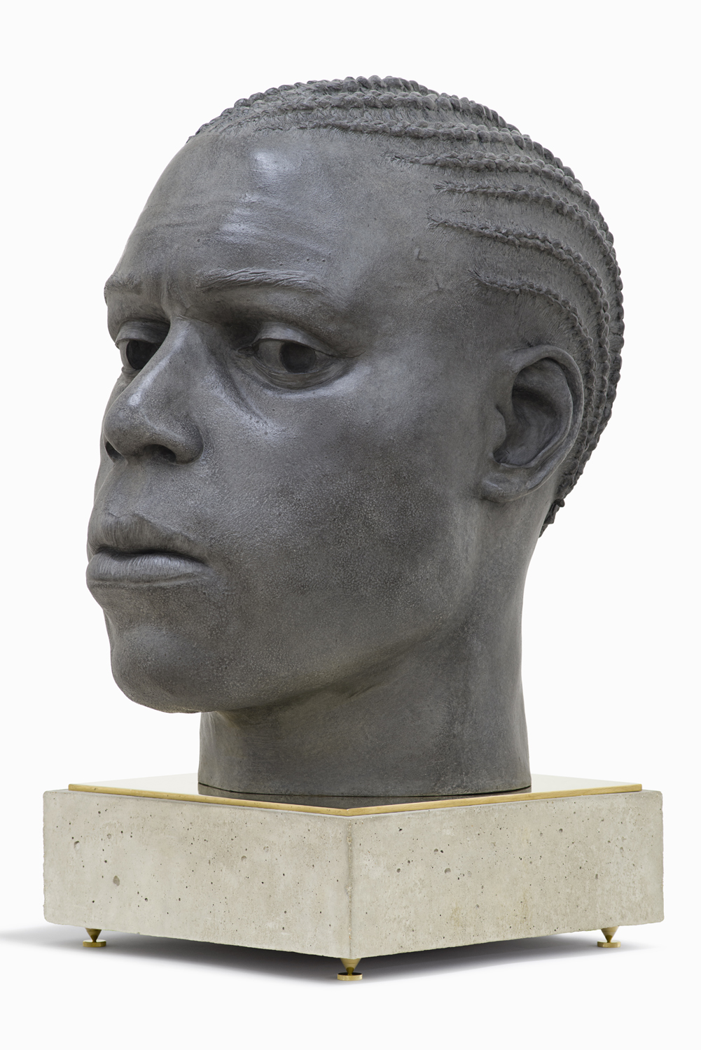 Tom Price, Base - Head (Surface Tension), 2014, bronze, brass and concrete, 77 x 45 x 60 cm [65 x 45 x 60 cm head, 12 x 40 x 40 cm base] [45].jpg