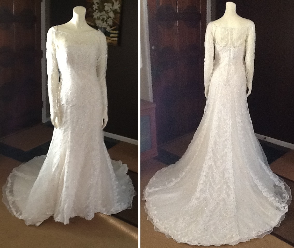 Pronovias Lace Strapless Wedding Dress with Removabe Lace Jacket, $481