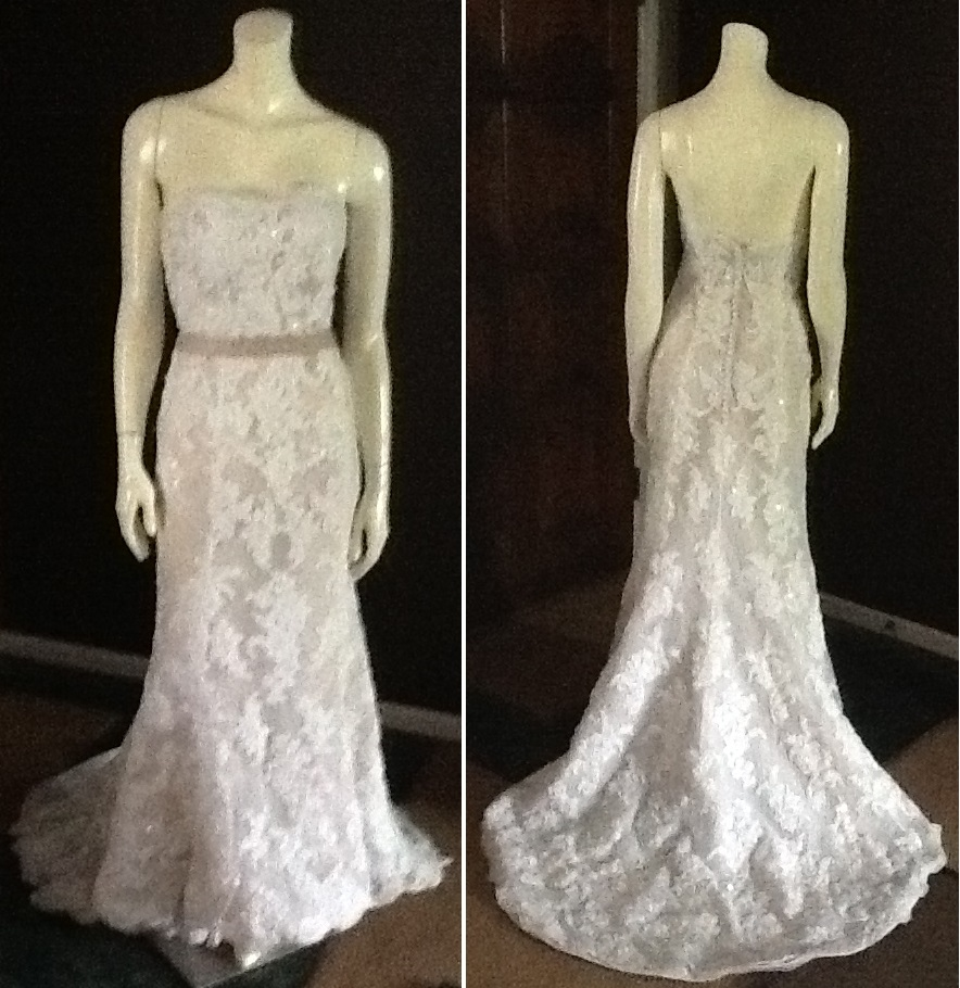 Demetrios Lace Gown with Crystal Embellishments, $700