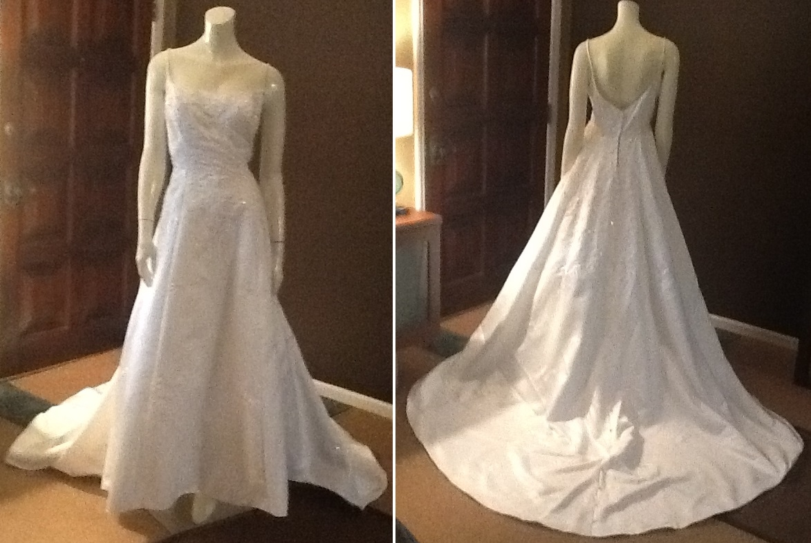 Mori Lee Satin Gown with Beaded Embellishments, $225
