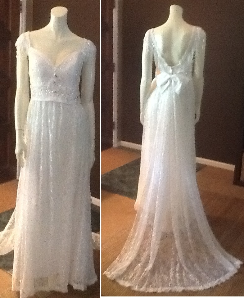 Lace Wedding Gown with Beading, $400