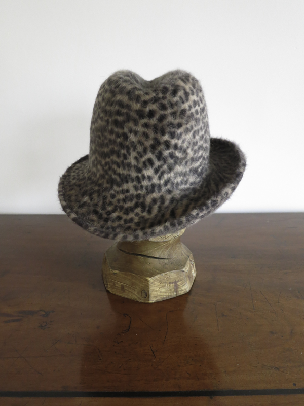 Cheeta Trilby. A luxurious cheeta print Melusine felt with a nice dip in the crown.