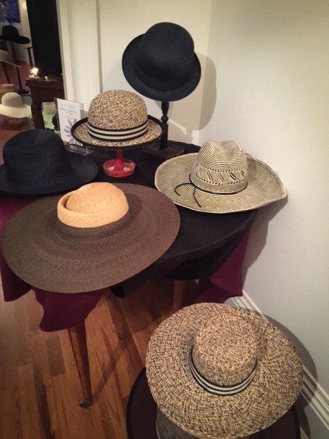 Display of mixed straw hats