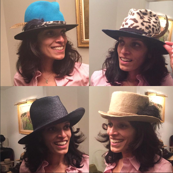 Neha modeling four hats!