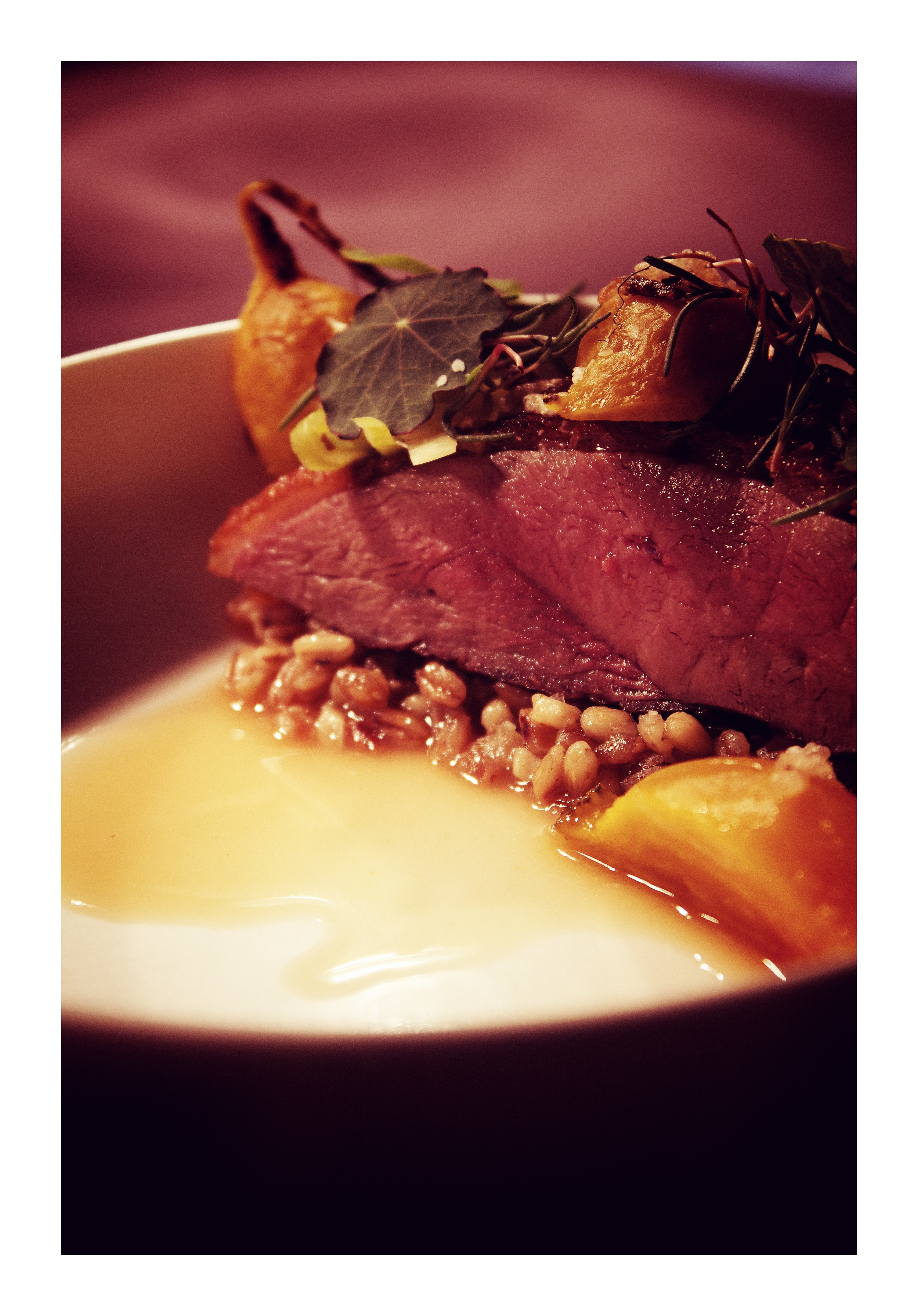 35 day dry aged duck | braised grains | salt preserved beets glazed in apricot | sea beans | sweet and sour meat broth