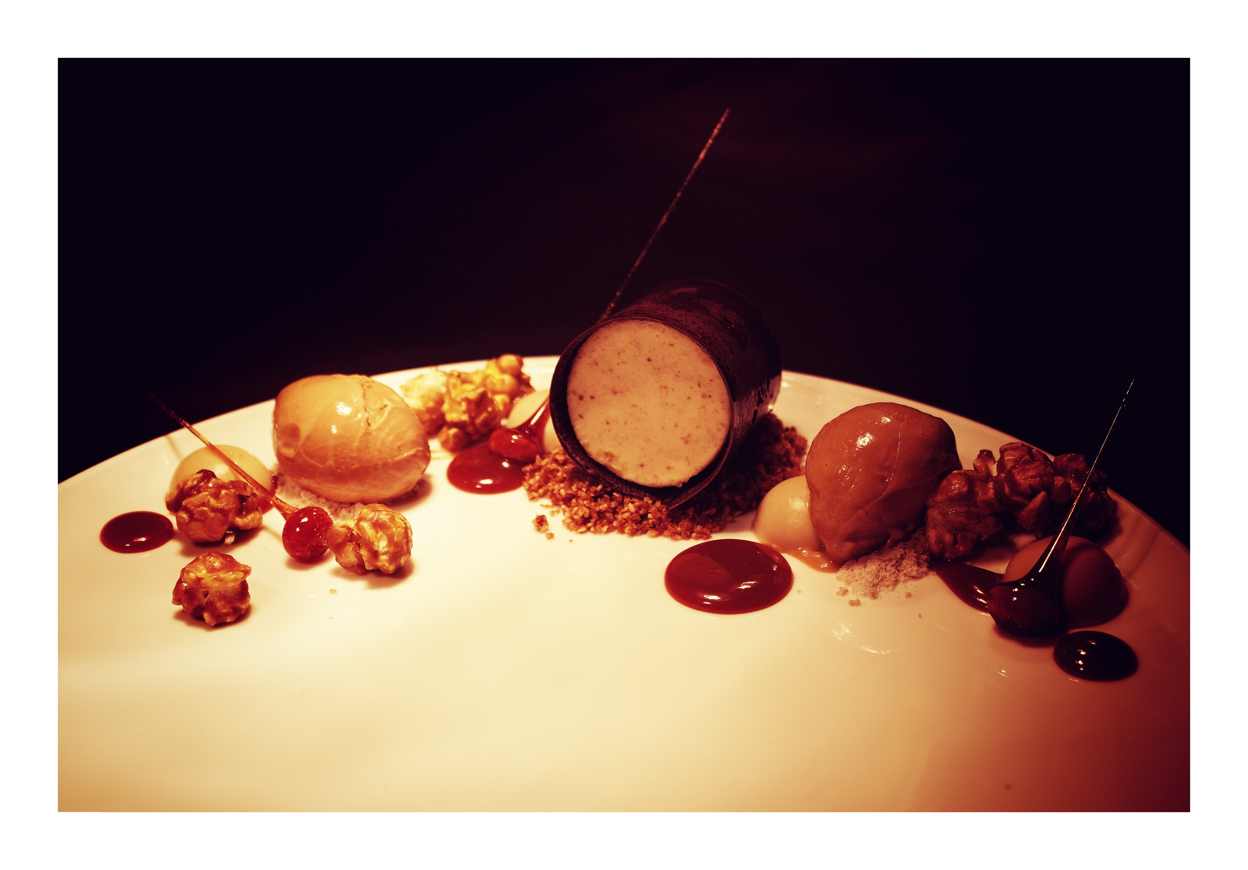 peanut cake|salted caramel cremeaux|peanut mousse|caramel powder|sweet corn gelato|peanut encapsulated in sugar