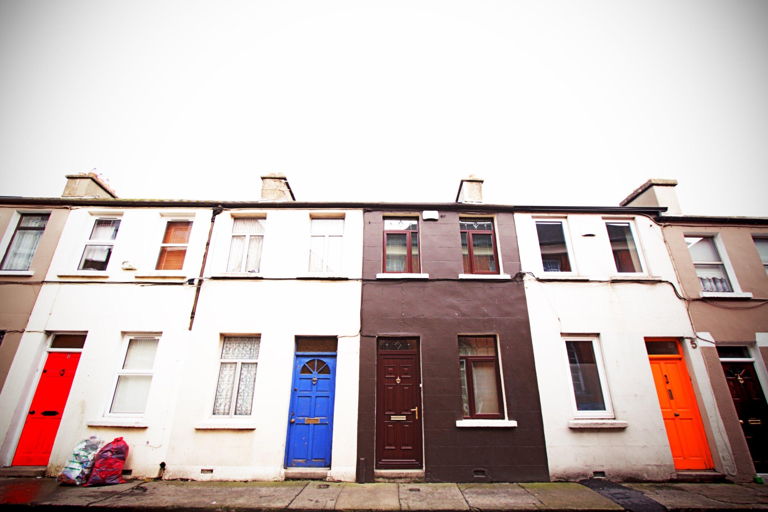 A random row of colorful doors in Dublin