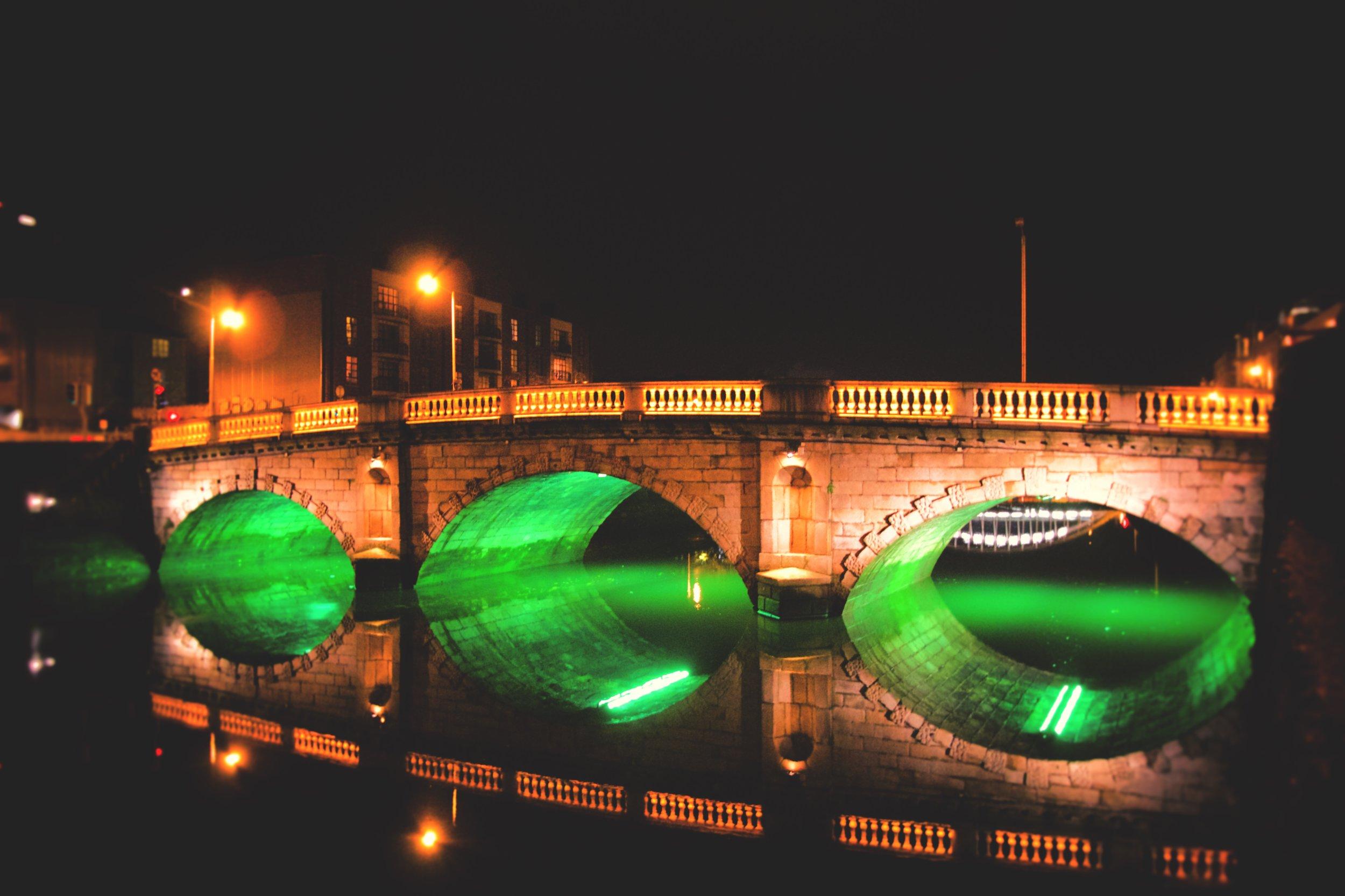 Dublin bridge at night