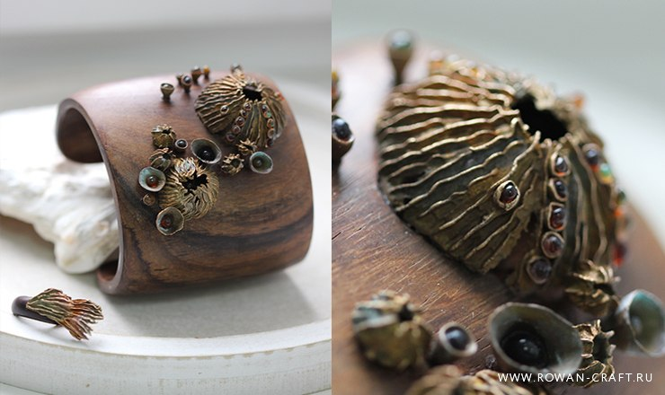 Bronze reef. Bronze, fused glass, wood.