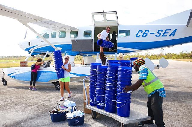 Landed in North Andros with water filters in tow 💦Thank you to @transislandairways for your support getting us to Lowe Sound & Nichols Town, the areas hit hardest in Hurricane Matthew ✈️