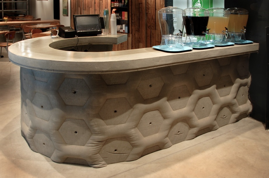 Fabric-Formed Wall with Integral Countertop / by Gore Design Co.