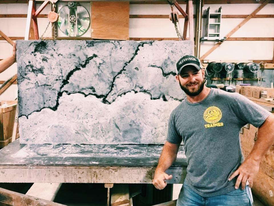 Dusty Baker himself, posing with a freshly de-molded tabletop