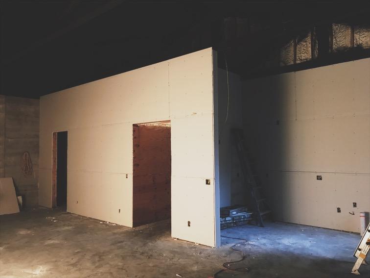 Drywall getting installed.
