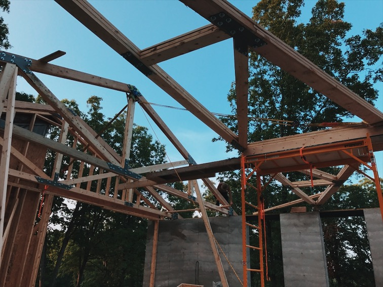 We used old school rigging to raise the trusses.