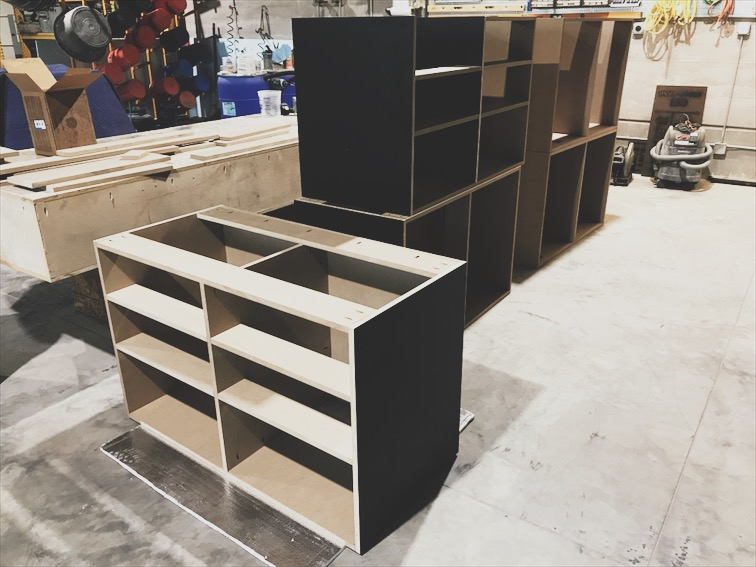 I built some cabinets for the metal working area.