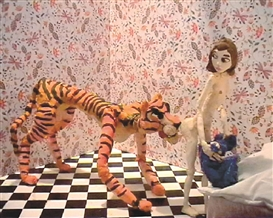 Nathalie Djurberg and Hans Berg, Tiger Licking Girl's Butt , 2004. Courtesy of Zach Feuer Gallery, New York, and Giò Marconi Milan.