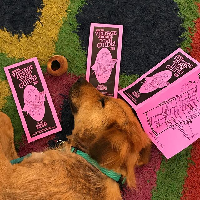 Shopping all the stores in the 2019 Vintage Around Town Guide will leave you DOG TIRED (just like little Charlotte here). Totally worth it!  We lost a few last year and gained a few this year so pick up your guide in any of the local vintage shops and go go go!