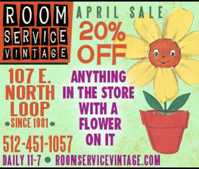 You don't need the rain to bring you flowers, you can also stop by Room Service this month and take advantage of their broadest sale of the year!  Anything in the store with a flower or floral print is 20% off.  Clothes, art, furniture, magazines, records, if you can see a flower, it's on sale!