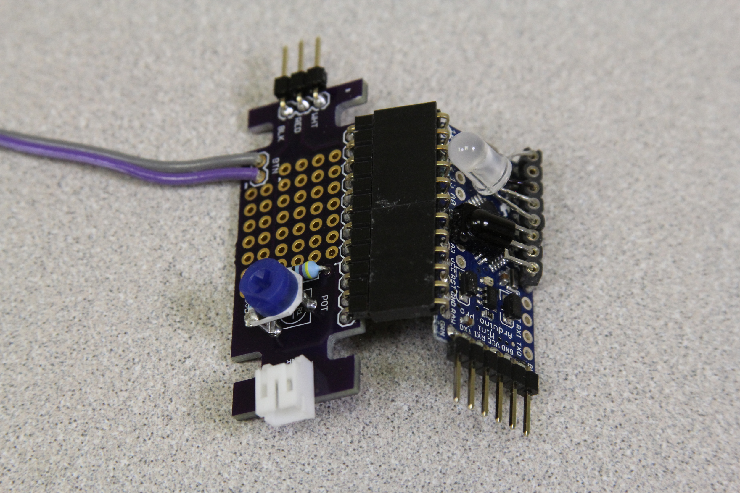 SeaGlide's Control Electronics - Printed Circuit Board (left) and an Arduino Pro Mini Microcontroller (right)