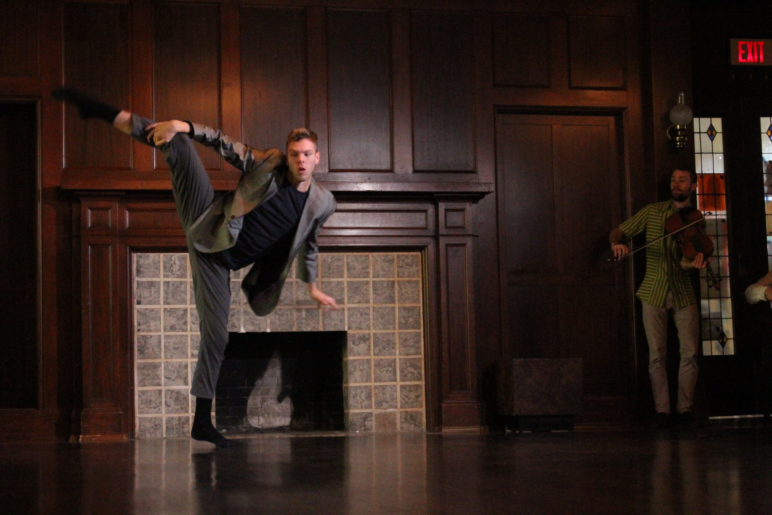 Photo of Cody Cox and Elliot Vaughan in our production of No Place Like Home at Aberthau Mansion
